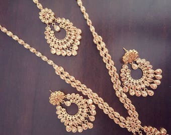 Gorgeous Indian polki bridal party wear necklace with mangtikka and earrings set (Long Version)