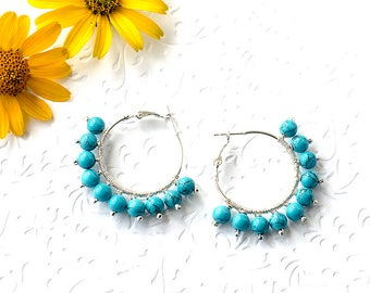 Fashion Gift|for|Wife Gift Turquoise Earrings Trendy Earrings Hoop Earrings Turquoise Jewelry Gift|for|Mom Gift Idea Round Silver Earrings