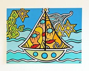 ORIGINAL pop art painting acrylic on canvas - painting in acrylic on canvas - seaside - holiday - sailing - world wide free shipping!