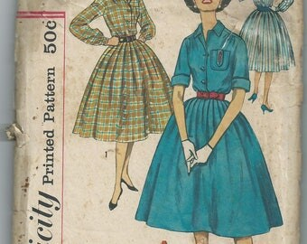 Vintage 1950s Simplicity 2627 sewing pattern shirt dress size 13