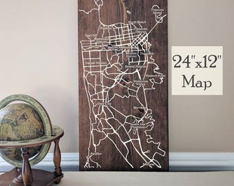 San Francisco City Map, Large Wooden Map, San Francisco Map Wall Art, Wooden Street Map, Painted Wood Map, House Address Map by Novel Maps