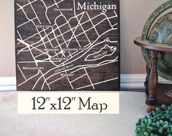 Detroit Map, Large Wood Map, Detroit City Map, Detroit Wall Art, Detroit Wood Map, Gift, Personalized Map, Custom City Map by Novel Maps