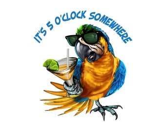 It's 5 o'clock somewhere decal, full color drinking parrot sticker, drinking decals