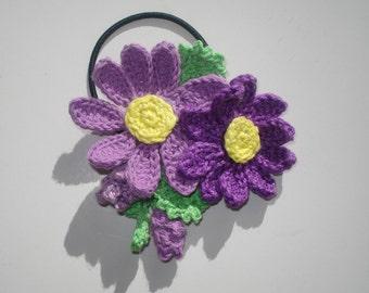 Crochet cotton flower hair tie, Women's Boho hair accessories, Flower elastic hair ties, Girl's Ponytail Holder, Boho gift, Gift for Ladies