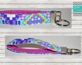 Purple/Pink/Mint/ Aztec/Floral, Keychain, Key Fob, Wristlet Keychain, Wristlet Key Fob