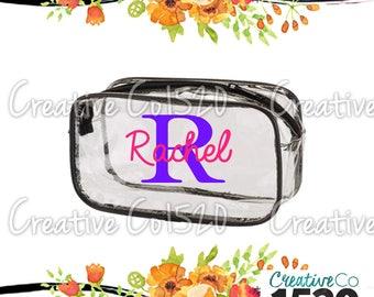 Custom Clear Makeup Bag | Custom Makeup Bag | Clear Makeup Bag Wedding | Bridesmaid Gift | Bridesmaid Gift Idea | Clear Clutch