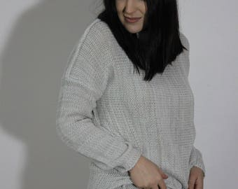 Oversize sweater, Women's sweater, Loose fit sweater, Light grey sweater, White and grey, Turtleneck