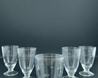 Small Glass Glasses - Glass Cups - Small Cups - Brandy Cups.