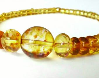 Yellow Glass Elastic Beaded Bracelet