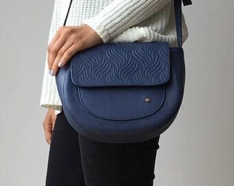 Colombian Leather Handmade Handbag for Women - Blue Saddlebag