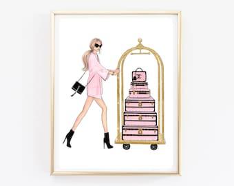 Chanel Fashion Art Blush Pink Chanel Poster Pink And Gold Fashion Girl  Poster Fashion Wall Art