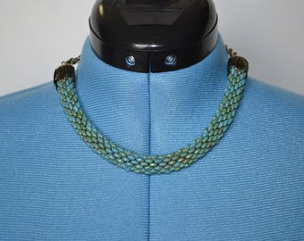 Teal Tube Beaded Necklace with Gold Toggle Clasp