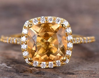 8mm Cushion Cut Citrine Engagement Ring Yellow Gold Plated Sterling Silver Eternity Wedding Band CZ Bridal Ring Women Halo Ring