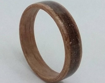 Mahogany Ring - Bentwood Ring - Walnut Inlay -Handmade
