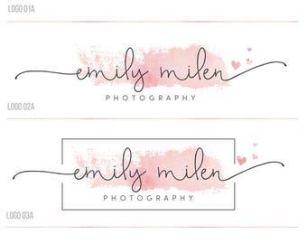 Premade branding kit, heart logo and watermark, Photography logo, script logo design, wedding logo, watercolor logo, business logo stamp, 38