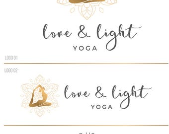 Gold yoga logo, Yoga pose logo watermark, Custom logo, Photography logo and watermark, Blog logo, Premade logo, Feminine logo 151