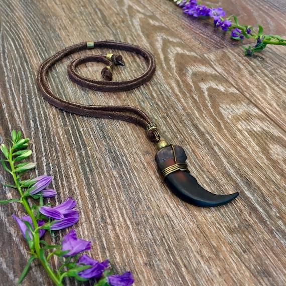 Bear Claw Necklace Leather Vintage Boho Gipsy Native