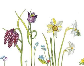 Spring Flower Frieze Print