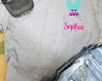 Mermaid Tail with name on pocket tee | **FREE SHIPPING** | Love Mermaids | Heart Mermaids | Mermaid Tail