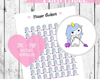 Chore Stickers, Printable Planner Stickers, Unicorn stickers, Cleaning stickers, Kawaii Printables, Happy Planner stickers