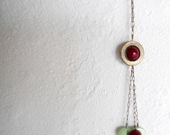 "red and mint green ""Space"" necklace"