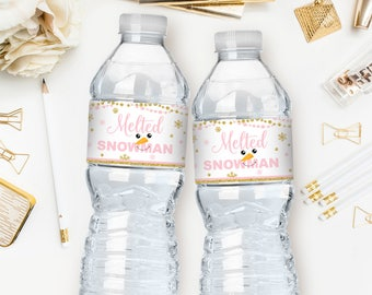 Melted snowman water bottle labels, pink and gold, winter onederland first birthday party, winter baby shower, girl or boy, printable