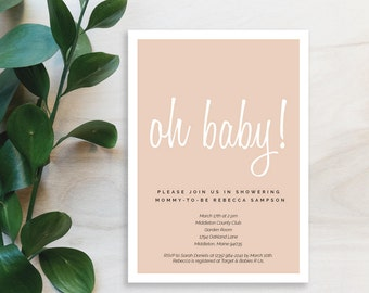 "Pink ""Oh Baby"" Baby Shower Invitation Printable"