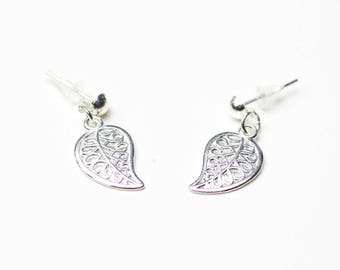 Earrings studs silver leaves