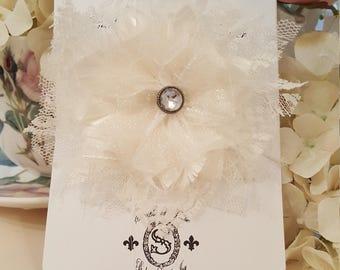 Shabby Tattered Fabric Flower - Nina