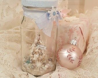 Vintage Shabby Chic Blue Snowglobe in a Glass Jar - Christmas Dream