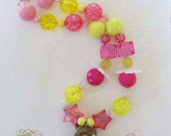 Princess Belle  Chunky Bubblegum Necklace, Chunky Bead Necklace, Girls Jewelry, Little Girl Chunky Necklace, Bubblegum Necklace