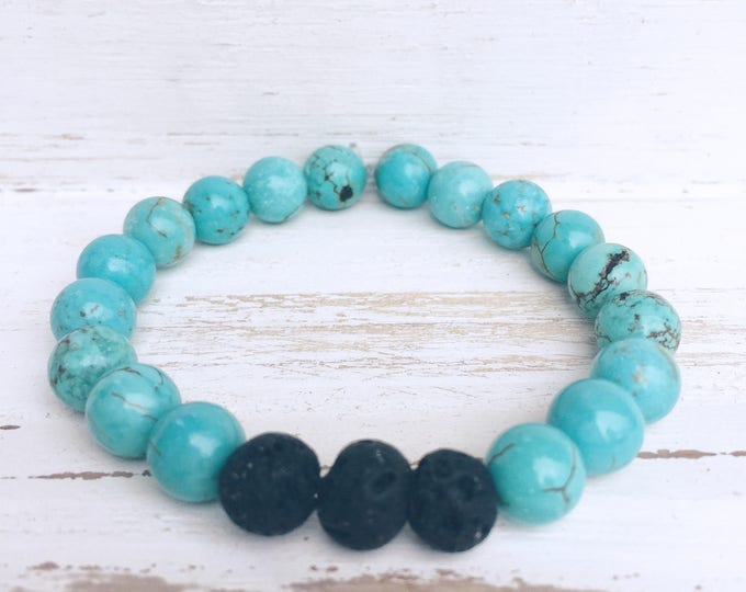Black Lava Rock and Blue Turquoise Beaded Diffuser Bracelet for Essential Oils