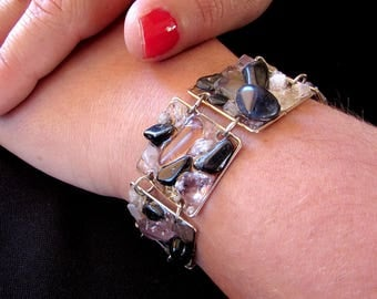 Black and white/crystal bracelet made of alpaca silver squares and gemstones - hematite and crystal quartz