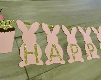 Bunny Banner, Bunny Birthday Banner, Pink and Gold Bunny Banner, First Birthday,  Easter Banner, Rabbit Banner,  spring banner, Bunny Party