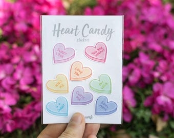 Valentine's Day Heart Candy stickers - waterproof & removable