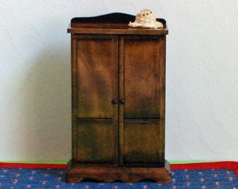 Dollhouse walnut armoire - two working doors - shelves and clothes rod - miniature bedroom - vintage wardrobe - Victorian room box decor