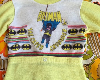 Vintage Kids Batman Jr The Caped Crusader DC Comics Baby Toddler Pjs Pajamas Sleep Wear 1978 Toddle Time Jc Penney 18 mo Superhero Footies