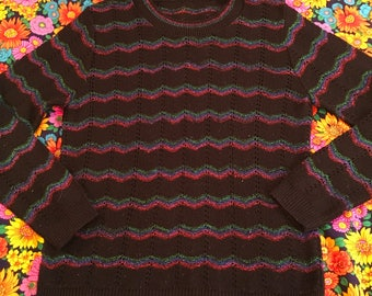 Vintage Black Open Knit Red Blue Green Purple Metallic Zig Zag Sweater