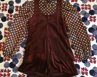 Vintage Brown and White Velvet and Satin Heart Print Romper and Vest Two Piece Mock Turtleneck Empire Waist Puff Balloon Sleeves 1960s Pinup