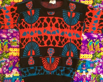 Vintage 80s Metallic Black Red Blue Art Deco Style Animal Print Abstract Sweater