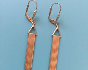 Art Deco Earrings / Vintage Dangle Earrings / Gold Earrings / Statement Earrings / Gift for Her / Gift Wrapped / Brass Earrings