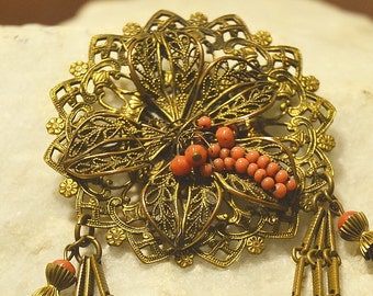1950's Stamped Vintage Filigree Gold Giltt Flower Brooch - Pin with Coral Beads and Tassels