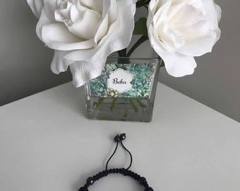 Shamballa Black & Clear Czech Crystal Bracelet
