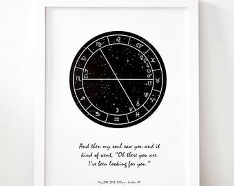 Personalised Valentine Star Chart, Magic Moment Monochrome Horoscope, Unique Romantic Gift (Framed Options are Available)