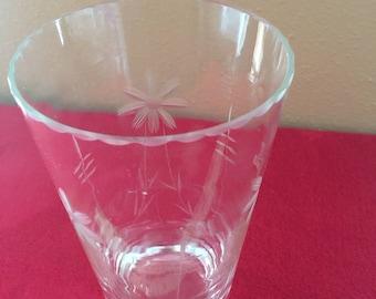 Vintage Etched (floral) Clear Glass Vase