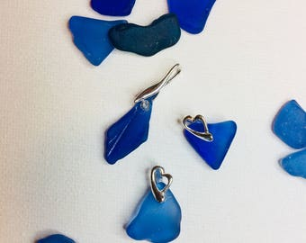 Beautiful blue sea glass & sterling silver pendants