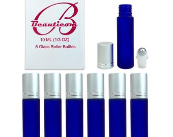 10ml 1/3 Oz High Quality Frosted Blue Glass Roll On Bottles for Storing Essential Oil Aromatherapy Blends Perfume Cologne Massage Oils