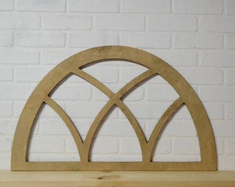 Half curved arched vintage window frame