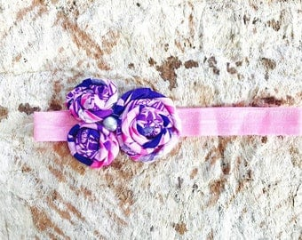 "PINK PASIFIKA Pink & Purple Triple Rosette 6-12mo  14"" baby headband"
