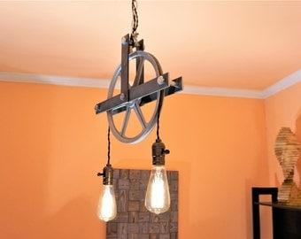 pulley lighting. pulley light pendant lighting chandelier industrial fixtures n